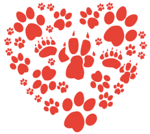 Paw Illustration in shape of a heart